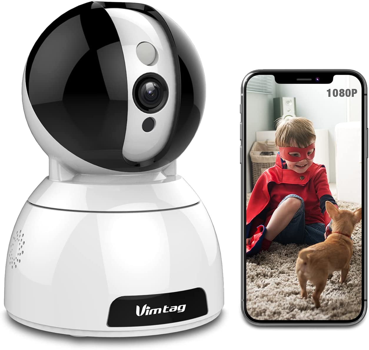 1080P FHD WiFi Pet Camera, Vimtag Baby Monitor Dog Cam Surveillance with Pan/Tilt/Zoom, Motion Detection, 2 Way Audio, IR Night Vision, Remote Monitoring for Home Security Indoor Camera