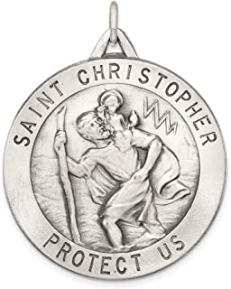 925 Sterling Silver Saint Christopher Medal Pendant Charm Necklace Religious Patron St Fine Jewelry For Women