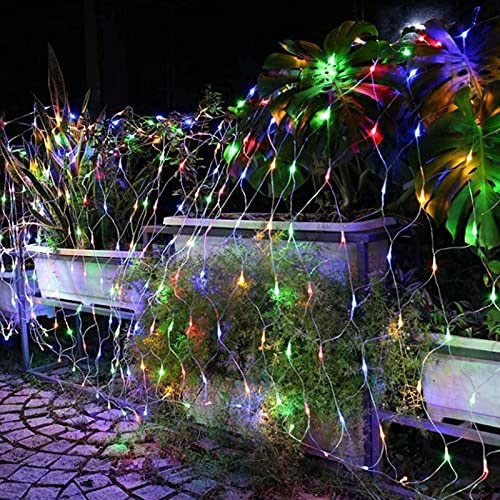 ZJQ-Festival Exterior Luces de Red de Pesca, Impermeable 8 Modos Luces de Ambiente de Fiesta, para Patio, Jardín, Bodas, Navidad,Vistoso,6M*4M