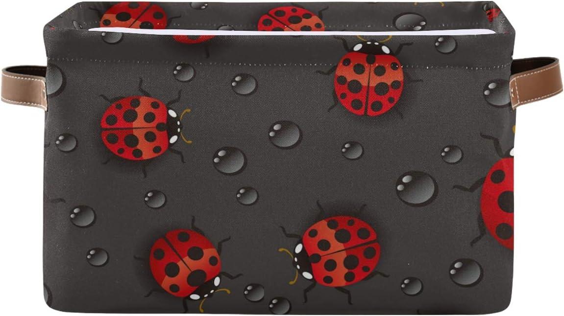 買い物 ☆正規品新品未使用品 AGONA Red Ladybugs Raindrops Foldable Collaps Large Bins Storage