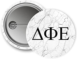 Delta Phi Epsilon Sorority Light Marble with Black Letters Pin Back Badge 2.25-inch Button DPhie