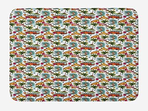 Abstracte badmat, Surf thema levendige afbeelding Vintage Van en Bloem arrangement Seagulls Action Hobby, Pluche badkamer Decor Mat met Non Slip Backing, 23,6 x 15,7 Inch, Multi kleuren