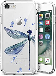 ChyFS Phone Case for iPhone 7 Plus 8 Plus Dragonfly Ink Drawing Clear Case Crystal Protective Case for iPhone 7 Plus 8 Plus.
