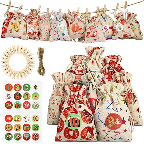 Viilich Bolsas para Calendario de Adviento con 1–24 Pegatinas, pequeñas Bolsas de Regalo para Rellenar,Bolsas de arpillera de Cuenta atrás de Navidad 2020,Bolsa de arpillera con Cuerda