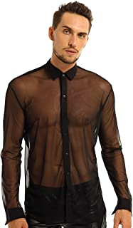 Men's See Through Button Down T-Shirt Clubwear Mesh Sheer Long Sleeve Shirt Tops