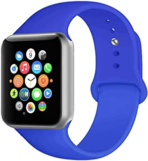 BOTOMALL Compatible with Iwatch Band 38mm 40mm 42mm 44mm Classic Silicone Sport Replacement Strap Bracelet for Iwatch All Models Series 4 Series 3 Series 2 1 (Royal Blue,38/40mm S/M)