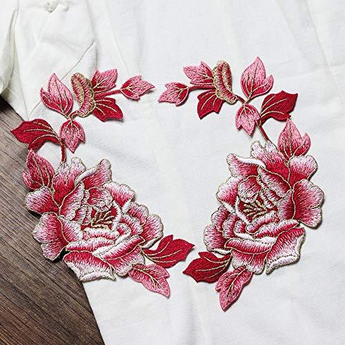 iron on patch,parches para ropa,Aplique de bordado, utilizado para decorar ropa para reparar agujeros en la ropa, 2 piezas grandes flores de seda rosa plateadas