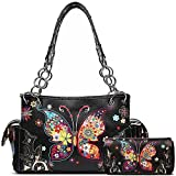 Western Style Spring Butterfly Flower Concealed Carry Purse Women Country Handbag Shoulder Bag Wallet Set (Black Set)