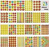 JBSON Adesivi Premio per Bambini, Stickers per la Scuola 5200 Adesivi per Insegnante di Classe e per Uso Scolastico Collettivo,23 Stili di Design tra Cui Faccina Sorridente,Stella,Pollici,Cuore,Mela