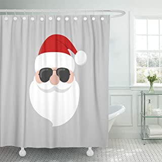 Emvency Shower Curtain Red Hat Hipster Santa Claus Cool Beard and Sunglasses Shower Curtains Sets with Hooks 72 x 78 Inches Waterproof Polyester Fabric