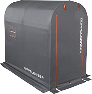 DOPPELGANGER(ドッペルギャンガー) ストレージバイクガレージ Mサイズ[サイズ:W100xD185xH160cm ]自転車・モーターサイクル用 屋外簡易車庫 ペグ4本付属 メッシュウィンドウ配置 DCC330M-GY