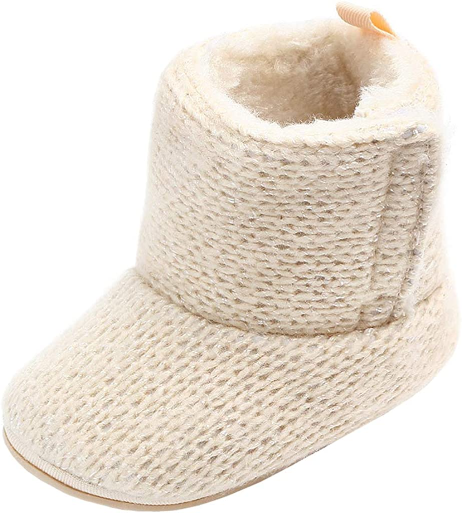 Annnowl Baby Girls Knit Soft Fur Winter Warm Snow Boots Crib Shoes
