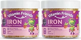 Vitamin Friends - Iron Supplements for Kids (2 Pack) B-Complex, Vitamin C, Zinc, Biotin - Iron Gummies Support Healthy Bod...