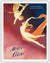 Pacifica Island Art Moscow Circus - Russian Aerial Trapeze Acrobats - Vintage Theater Poster c.1955 - Fine Art Print - 11in x 14in