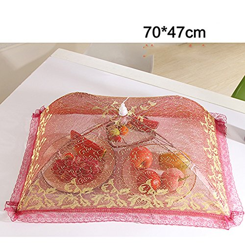 Isolation Carré Grand Encrypted Food Cover Couverture Folding Food Food Cover Le Cover Antiplayer Table Cover Lace Umbrella (2 Couleurs Facultatives) Antiparasitaire (Couleur : B)