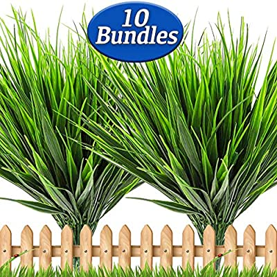 Artificial Plants Outdoor Grass - 10 PCS Fake Flowers UV Resistant No Fade Faux Plastic Shrubs Greenery Stems for Home Garden Porch Patio Decorations Office Indoor Restaurants Hotels (Green Grass)