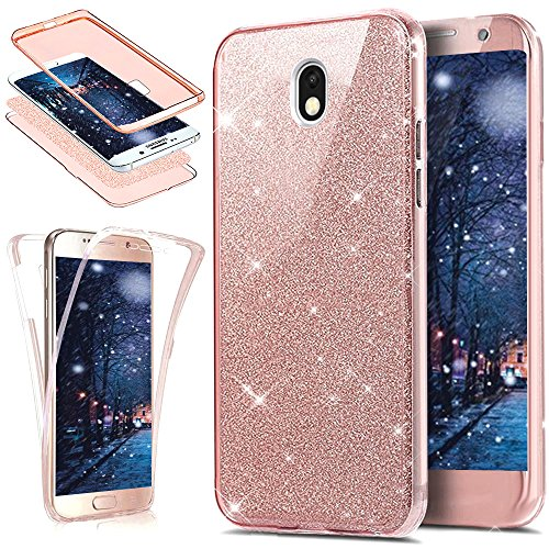 Kompatibel mit Galaxy J3 2017 Hülle Schutzhülle,Full-Body 360 Grad Bling Glänzend Glitzer Durchsichtige TPU Silikon Hülle Handyhülle Tasche Front Cover Schutzhülle für Galaxy J3 2017,Rose Gold