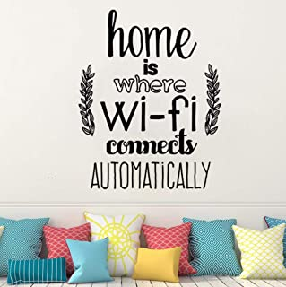 Dalxsh Home Decor Home is Where WiFi Connected Quote Wall Decals Living Room Vinyl Wall Stickers Family Love Design Wall Mural 33x42cm