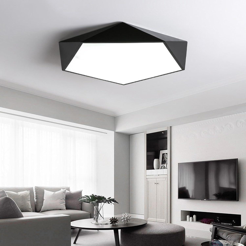 5151BuyWorld Lampe LED Decken Dimmbare Lampen Geometrie Luminariasign Kreative Wohnzimmer Gang Balkon Lampe Plafond Chambre Deckenbeleuchtung Top Qualitt {Rc Dimmbar & Schwarz D30 CM}