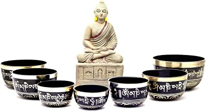 Chakra Healing Tibetan Singing Bowl with Mantras in Black Set of 7 pieces for Meditation, Sound Healing, included Cushions...
