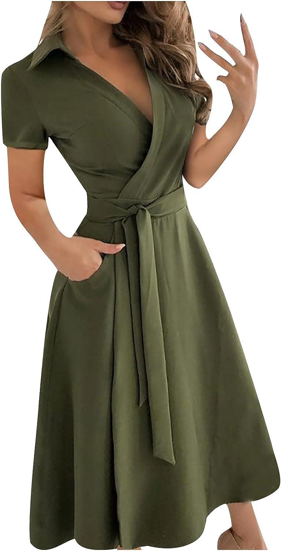 Wirziis Summer Dresses for Women Max 49% OFF Front Cross Deep V-Neck Sale SALE% OFF Henley