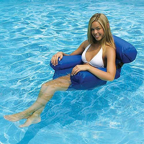 COWINN Aufblasbares Schwimmbett, Wasser-Hängematte 4-in-1Loungesessel Pool Lounge luftmatratze Pool aufblasbare hängematte Pool aufblasbare hängematte für Erwachsene und Kinder (Blue)