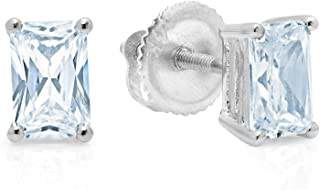 1.94cttw Brilliant Emerald Cut Solitaire Highest Quality Aquamarine Blue Simulated Diamond CZ Unisex Anniversary Gift Stud Earrings Real Solid 14k White Gold Screw Back