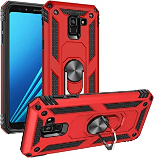Umhlaba Galaxy A8 2018 Cover Compatible with Samsung GaxalyA8 Phone Case Roating Ring with Kickstand Armor Heavy Duty Glaxay A 8 Protective Cases Bumper Fit Magnetic Car Mount Skin 5.6 inch (Red)
