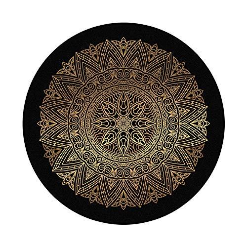 JMSHTU Alfombra circular estilo clan dorada, 160 cm, lavable, antideslizante, apta para sala de estar, dormitorio, sala de juegos infantil.