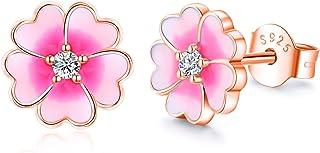 Waysles Pink Flower Post Stud Earrings Hypoallergenic Sterling Silver Earrings Studs Jewelry for Women, Girls