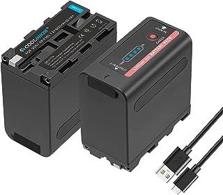 COOLSHOW NP-F970バッテリー 2個8700mAhバッテリー 4個LED充電ライトUSB出力付きモバSony NP-F980 F550 F930 F950 F960 F530 F570 F750 F770 バッテリーと完全に互換があ...