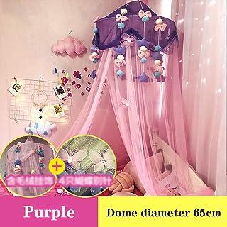 子供達 王女 ベッドキャノピー ぬいぐるみ付き デコレーション ドームプレイ 蚊帳 テント、 屋内 アウトドア ゲームで遊んでいる ハウスリーディング/ベビーベッドヌーク、 1.0m-1.5mベッド,紫色