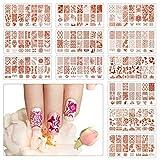 TAZEMAT 12 Pcs Plaques Nail Art Plastique Transparent Kit Outil de Manicure pour Femme Fille Plate...