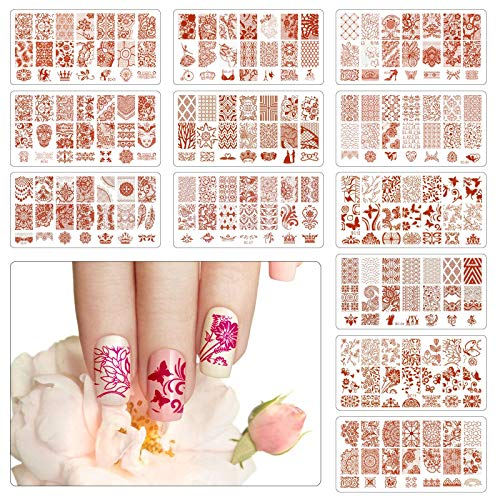 TAZEMAT 12 Nail Art Plates Stamping Nagel Bildstempel Schablone mit 1 Stempel und 1 Schaber Maniküre Stempelschablonen für Frau Mädchen