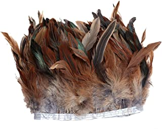 AWAYTR Rooster Feather Trim Width 5-7 inches Craft Feather Fringe Trim Pack of 5 Yards (Light Brown)