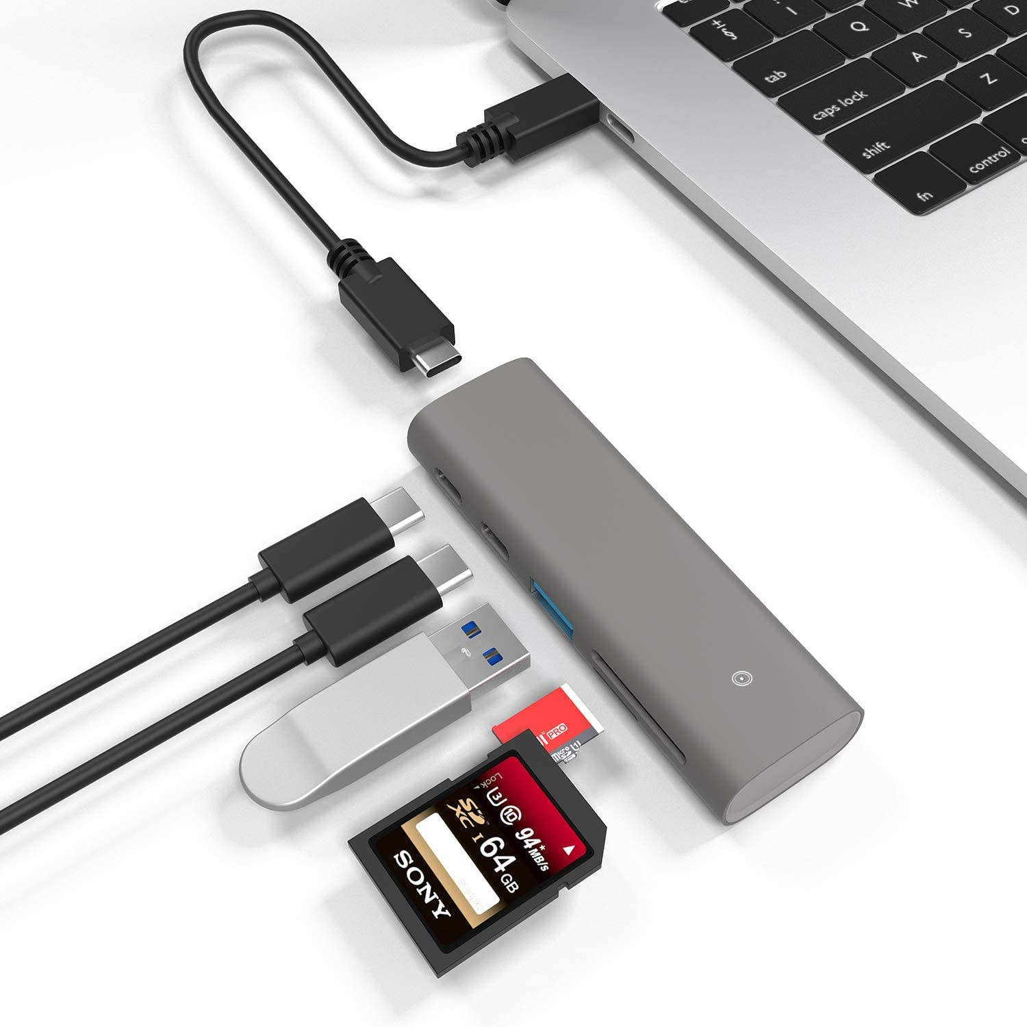 Type C USB 3.1 Gen 2 Hub 10Gbps Super Speed Portable USB C Hub Adapter with 2 Type C Ports &1 USB 3.0 Port & SD/TF(Micro SD) Card Reader for Desktop PC/Laptop, Phones, and More with 20cm USB C Cable