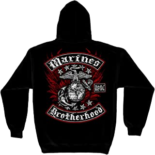 Erazor Bits Marine Corps Hooded Sweat Shirt Marine Biker with Rockers Foil Stamp MM2141SW