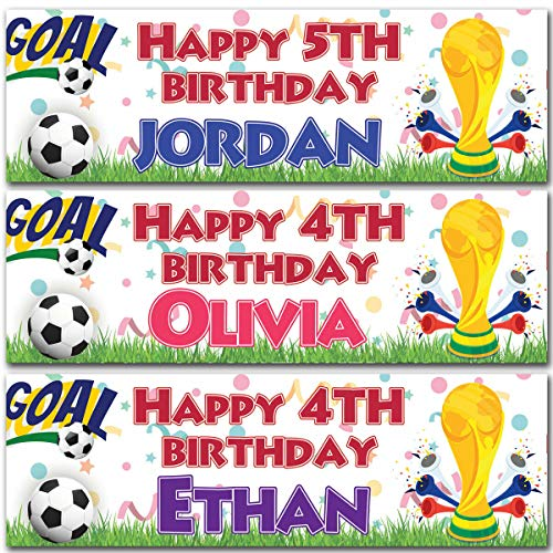 2 Gepersonaliseerde Verjaardag Banner Zou Beker Voetbal Sport Jongen Kinderen Party Decoratie Small roze