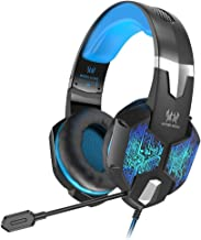 VersionTECH. Gaming Headset for Xbox One/PS4 Controller, PC, Wired Surround Sound Gaming Headphones with Noise Cancelling Mic, RGB LED Backlit for Nintendo Switch/3DS, Mac, Destop Computer Games-Blue
