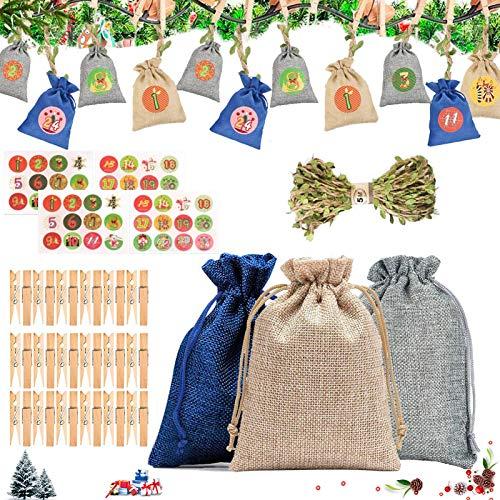 Bolsas de calendario de cuenta regresiva de Navidad,24 bolsas de tela navideñas,calendario de adviento sacos para llenar,Bolsas de yute navideño,bolsa de regalo de navidad
