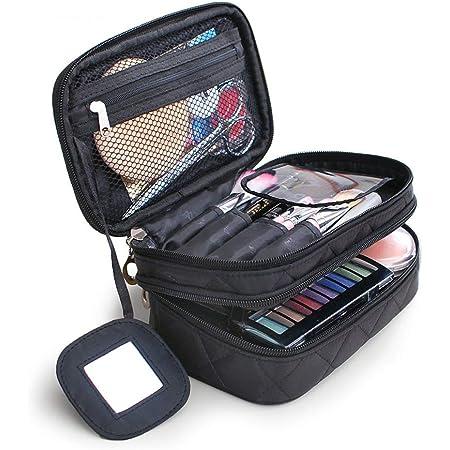 Bolsa de Maquillaje, Impermeable Maquillaje Bolsa de Aseo cosméticos Bolsa de Viaje de Lavado Organizador de Viajes Bolsa de Aseo para Mujeres Señoras (Negro)