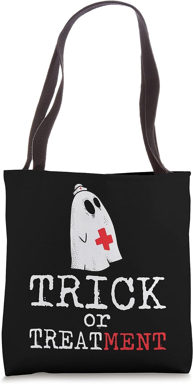 Trick Or Treatment Lazy DIY Halloween Costume RN Nurse Ghost Tote Bag