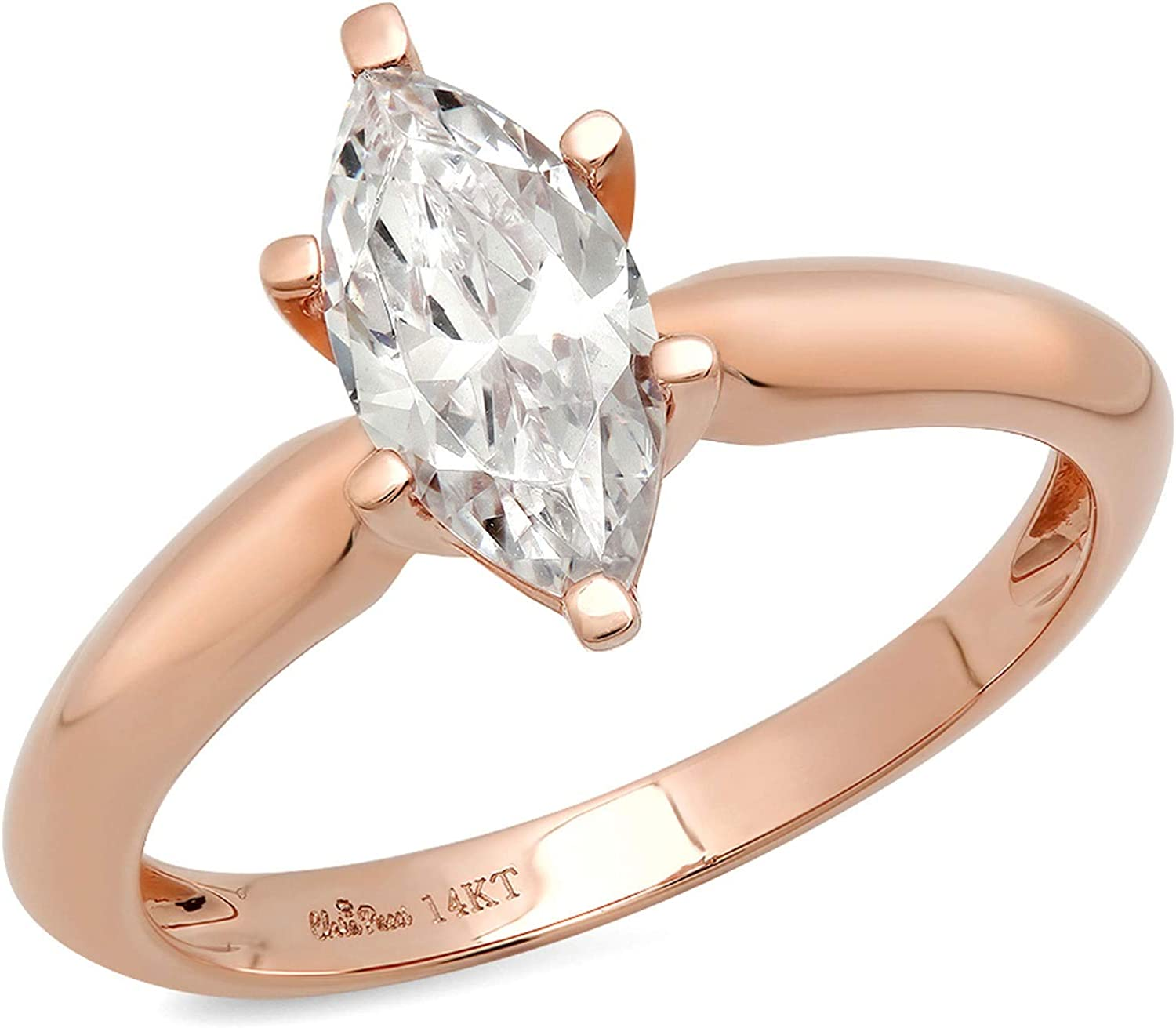 0.9ct Brilliant Marquise Cut Solitaire Stunning Genuine Lab Created White Sapphire Ideal VVS1 D 6-Prong Engagement Wedding Bridal Promise Anniversary Ring Solid 14k Rose Gold for Women