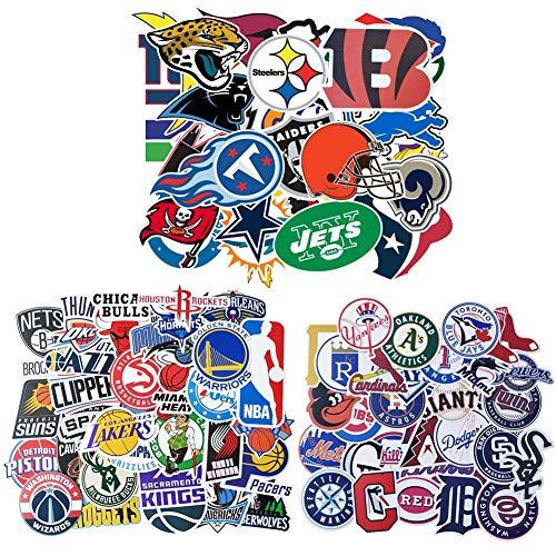Ratgoo Stickers of NFL+NBA+MLB 93Pcs, Waterproof Vinyl Sports Fan Decals of NFL NBA MLB National Major Football Basketball Baseball League Association 32+31+30 All Teams Logos Sticker for Laptop Car