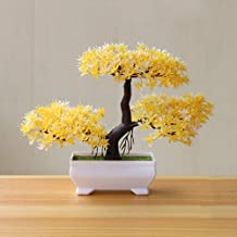 Gemini_mall Artificial Bonsai Cedar, Welcoming Pine Emulate Bonsai Simulation Decorative Artificial Flowers Fake Green Pot Plants Ornaments Home Decor Yellow