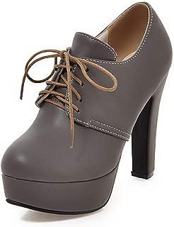 Waltz Choice Women's High Heel Shoes Platform Pumps Lace Up Casual Spring Autumn Shoe PU Leather