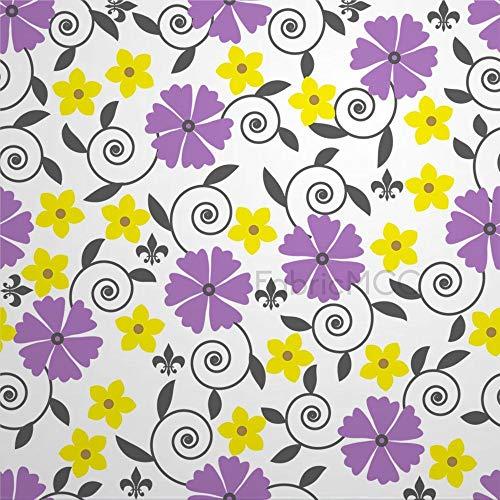 daoyiqi Juego de adhesivos decorativos para azulejos, diseño floral, color morado, planta de pedicel, 10,4 x 10,4 cm, vinilo para decoración del hogar