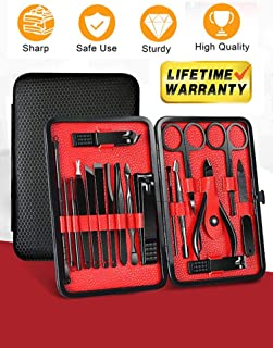 Manicure Set 18 In 1 Stainless Steel Nail Clippers Set Manicure kit for Men and Women Nail Kit Nail Scissors Set Pedicure Kit Professional Grooming Kit Nail Tools with Black Leather Travel Case(Red)