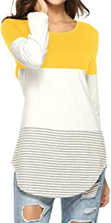 LUKEEXIN Women's Long Sleeve Color Block T-Shirt Stripe Patchwork Casual Blouse Tops