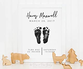 Arvier Baby Boy Birth Announcement Wall Art Print Footprint Nursery Decor Personalized with Your Childs Footprints inches Framed Wall Art
